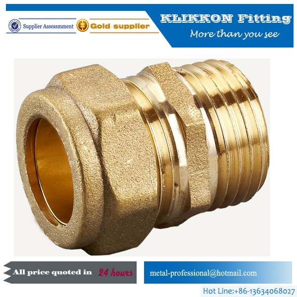 "1/2"" 3/4"" 3/4"" 3/8"" Brass Compression Tube Fitting"
