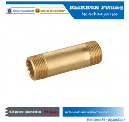 Hollow Brass pipe stem threaded 3/16 inch on both ends