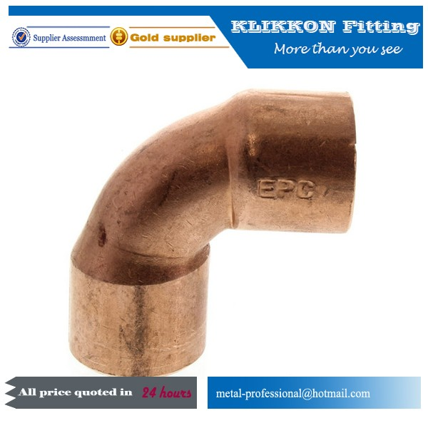 copper pipe fitting 90 degree elbow for refrigerator