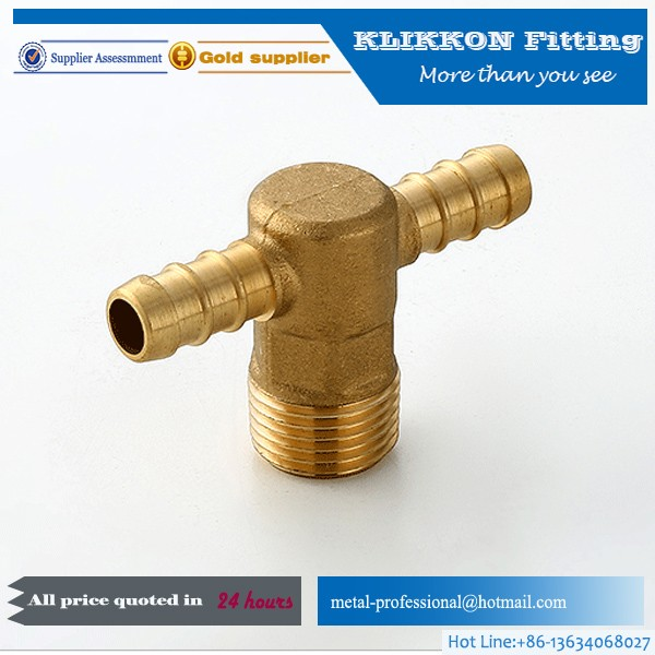 Brass hose barb fitting T type barbed brass fitting