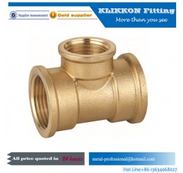High quality copper pneumatic F/F/F tee brass yellow thread fitting