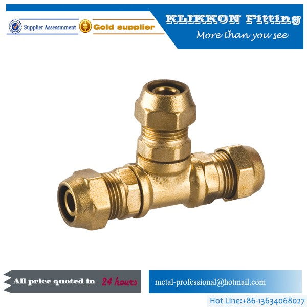 brass plumbing tee fitting for air line