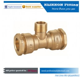 brass pneumatic 3 way T shape air hose pipe fitting