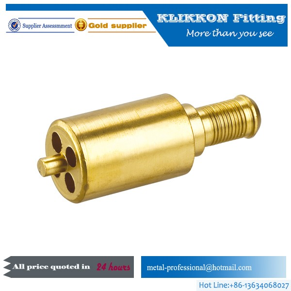 cnc brass pipe fitting Turning Quick Connect Small Miniature Red Brass Tee