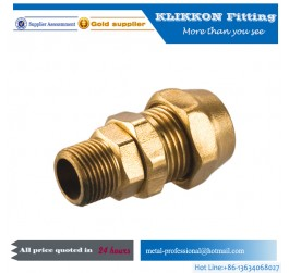 cnc brass pipe fitting 1/2 inch lead free compression coupler