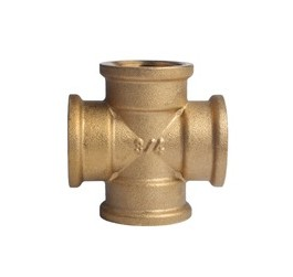 "SAE NPT Standard Square forged female thread 4 way brass cross pipe fitting 1/4"" Tubing"