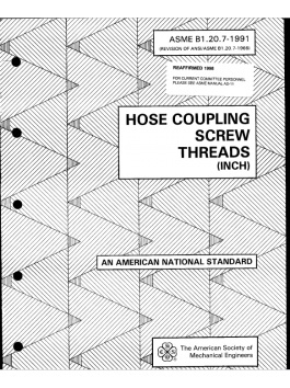 ASME B1[1].20.7 (1991) - Hose coupling screw threads